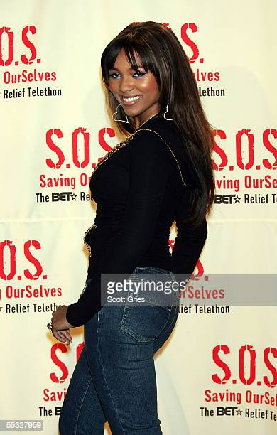 Singer Teairra Marie poses for a photo backstage during SOS The BET Relief Telethon to benefit the victims of hurricane Katrina at the BET Studios...