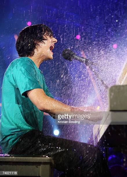 Singer Teddy Geiger performs on stage in the rain during the third annual MTV Australia Video Music Awards 2007 at Acer Arena on April 29, 2007 in...