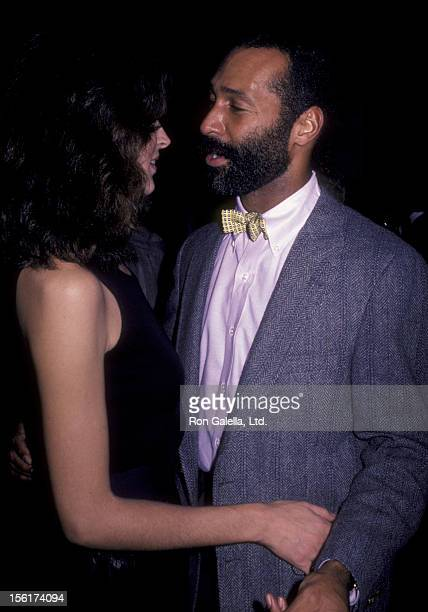 Singer Teddy Pendergrass and date attend 'Interview Magazine' Party on November 8 1983 at the Limelight in New York City