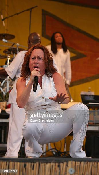 Singer Teena Marie performs during Day 6 of the 41st annual New Orleans Jazz & Heritage Festival at the Fair Grounds Race Course on May 1, 2010 in...