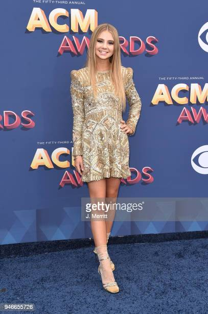 Singer Tegan Marie attends the 53rd Academy of Country Music Awards at the MGM Grand Garden Arena on April 15 2018 in Las Vegas Nevada