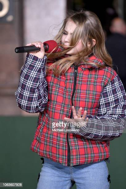 Singer Tegan Marie performs during the 92nd Annual Macy's Thanksgiving Day Parade rehearsals day one on November 19 2018 in New York City