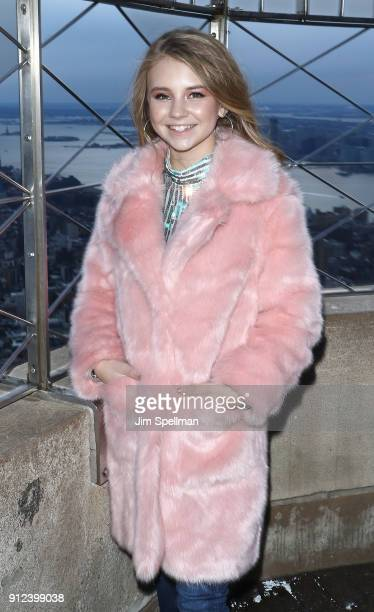 Singer Tegan Marie visits The Empire State Building on January 30 2018 in New York City