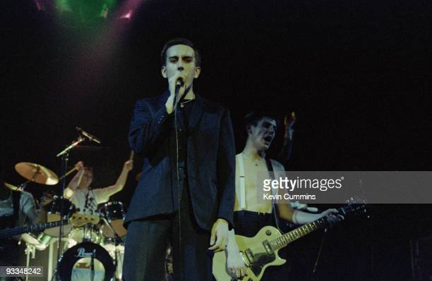 Singer Terry Hall and guitarist Roddy Byers of English ska band The Specials perform on stage at the Apollo in Manchester on November 01 1979