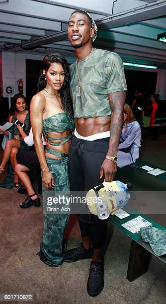 Singer Teyana Taylor and NBA star Iman Shumpert pose before the Baja East fashion show during New York Fashion Week September 2016 at 25 Beekman on...