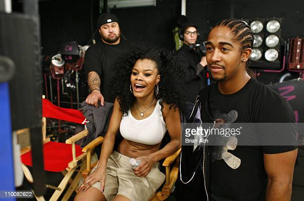 Singer Teyana Taylor and singer Omarion on the set for the video shoot for Google Me Baby on February 5 2008 in Brooklyn New York