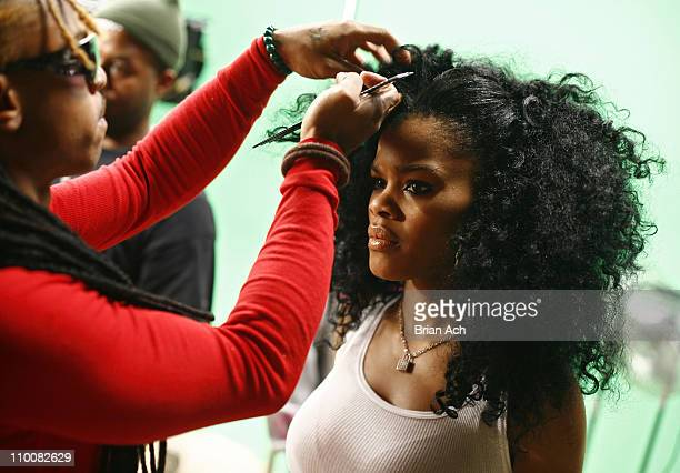 Singer Teyana Taylor on the set for the video shoot for 'Google Me Baby' on February 5 2008 in Brooklyn New York