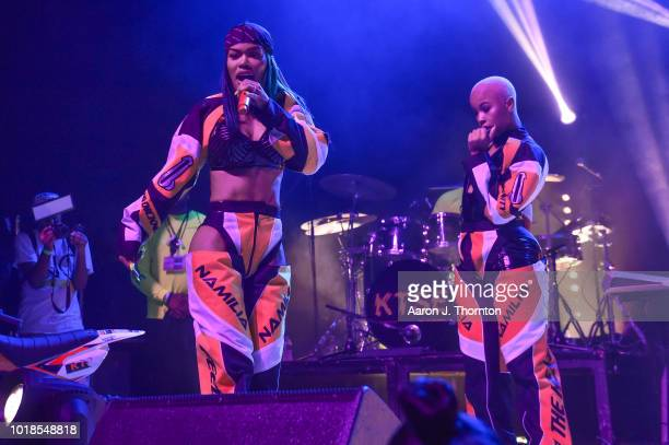 Singers LaBritney and Kash Doll perform on stage during the 'Keep That Same Energy' Tour at The Majestic Theater on August 17 2018 in Detroit Michigan
