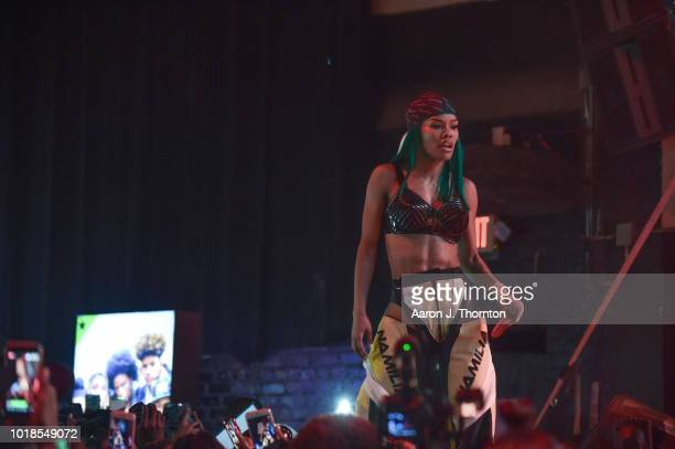Singer Teyana Taylor performs on stage during the 'Keep That Same Energy' Tour at The Majestic Theater on August 17 2018 in Detroit Michigan