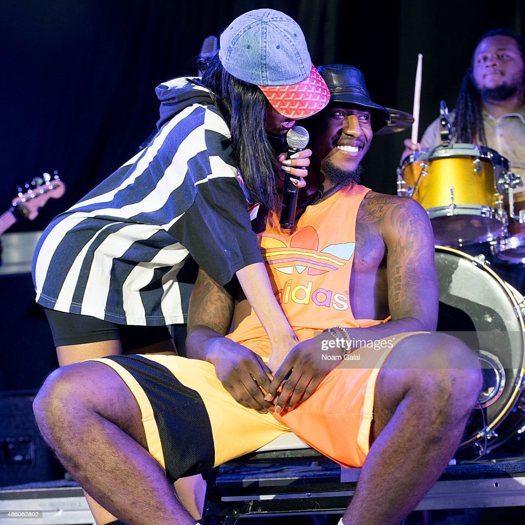 Singer Teyana Taylor performs with NBA player Iman Shumpert at Nikon at Jones Beach Theater on August 30, 2015 in Wantagh, New York.
