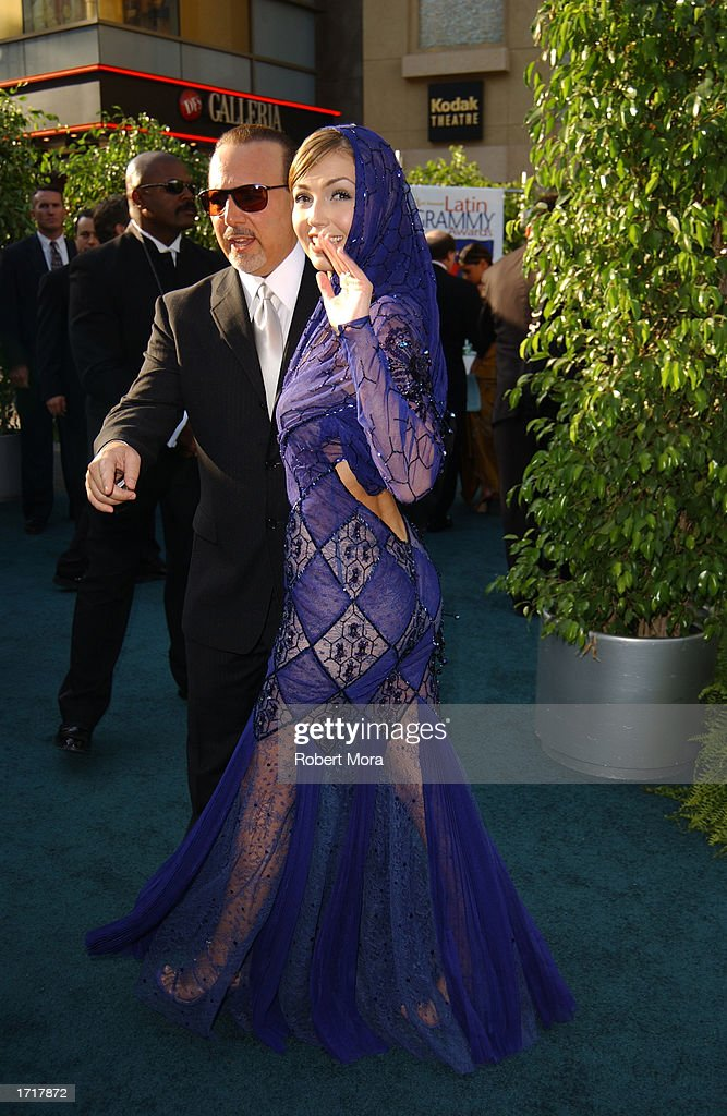 Singer Thalia And Her Husband Sony Music Entertainment President Tommy Mottola Attend The