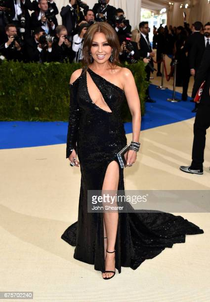 Singer Thalia attends Rei Kawakubo/Comme des Garcons Art Of The InBetween Costume Institute Gala at Metropolitan Museum of Art on May 1 2017 in New...