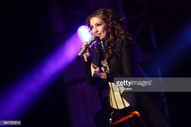 Singer Thalia performs on stage at The Wiltern on March 26 2013 in Los Angeles California