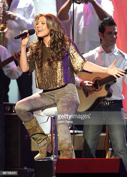 Singer Thalia performs onstage at the 2010 Billboard Latin Music Awards at Coliseo de Puerto Rico José Miguel Agrelot on April 29 2010 in San Juan...