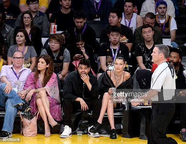 Singer The Weekend and basketball player Baron Davis attend Kobe Bryant's final game between the Utah Jazz and the Los Angeles Lakers at Staples...