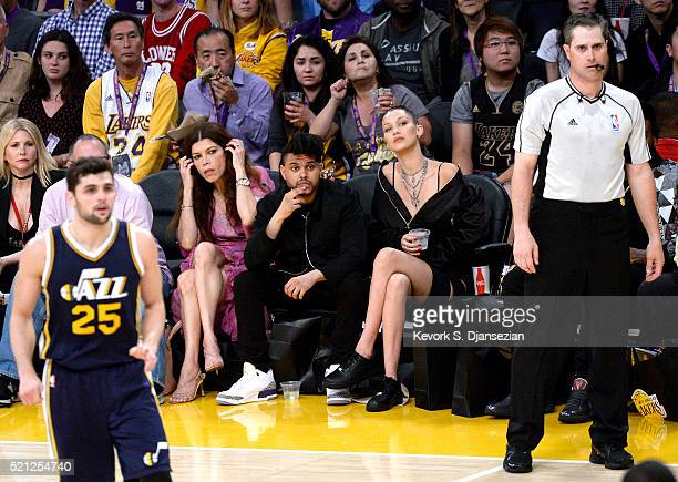 Singer The Weekend attends Kobe Bryant's final game between the Utah Jazz and the Los Angeles Lakers at Staples Center on April 13 2016 in Los...