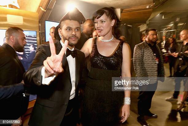 Singer The Weeknd and actress Pauley Perrette attends The 58th GRAMMY Awards at Staples Center on February 15 2016 in Los Angeles California