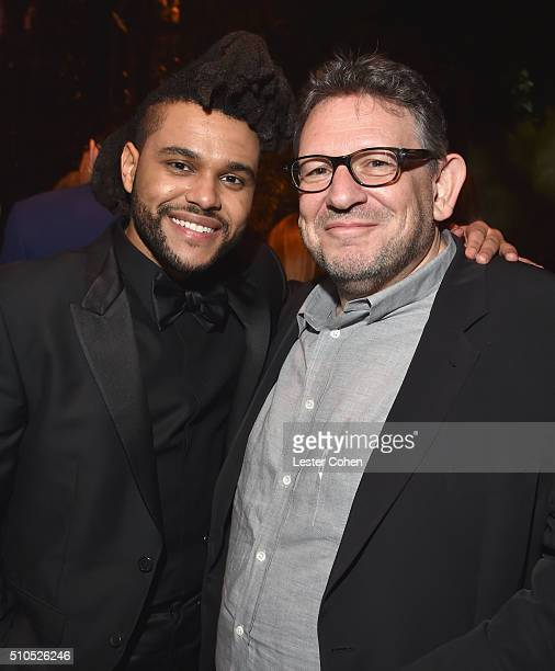 Singer The Weeknd and CBE Chairman CEO UMG Lucian Grainge attend Universal Music Group 2016 Grammy After Party presented by American Airlines and...