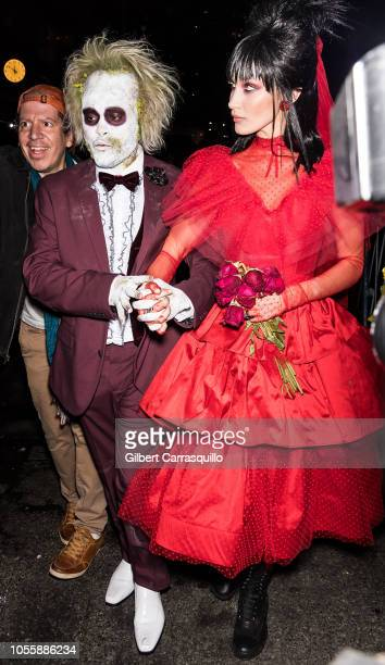 Singer The Weeknd and Model Bella Hadid are seen leaving Heidi Klum's 19th Annual Halloween Party at Lavo NYC on October 31 2018 in New York City
