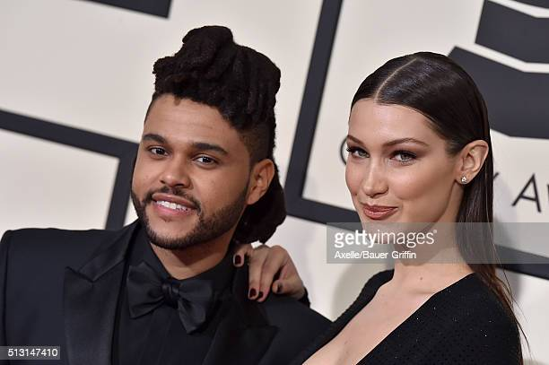 Singer The Weeknd and model Bella Hadid arrive at The 58th GRAMMY Awards at Staples Center on February 15 2016 in Los Angeles California