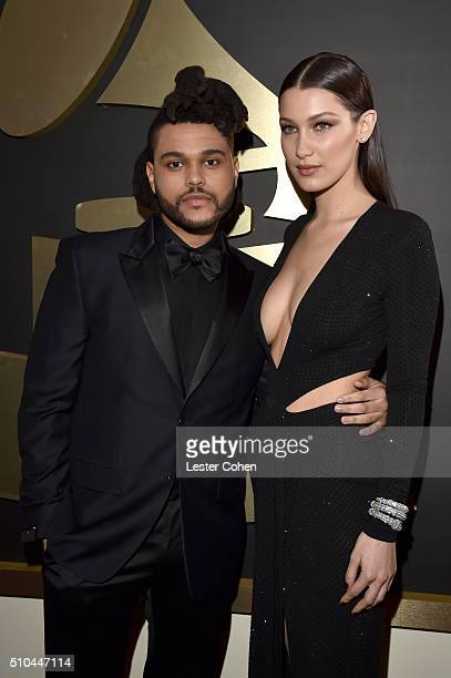 Singer The Weeknd and model Bella Hadid attend The 58th GRAMMY Awards at Staples Center on February 15 2016 in Los Angeles California