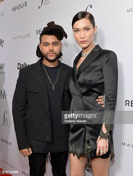 Singer The Weeknd and model Bella Hadid attend The Daily Front Row 'Fashion Los Angeles Awards' 2016 at Sunset Tower Hotel on March 20 2016 in West...