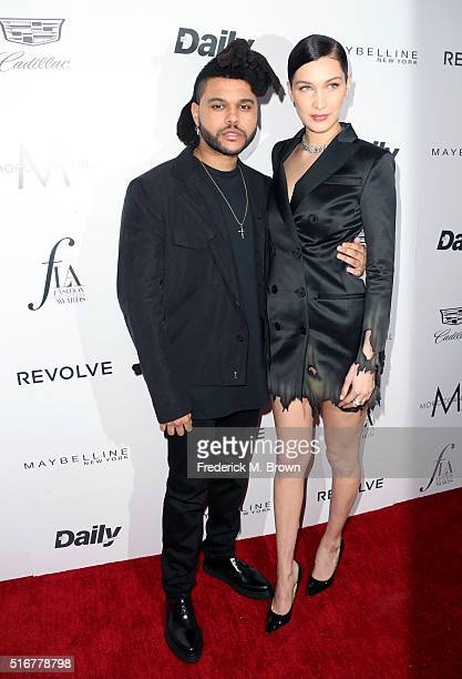 Singer The Weeknd and model Bella Hadid attend the Daily Front Row 'Fashion Los Angeles Awards' at Sunset Tower Hotel on March 20 2016 in West...