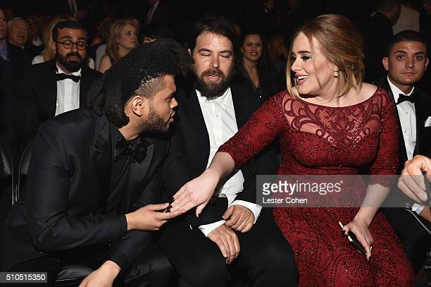 Singer The Weeknd Drop4Drop CEO Simon Konecki and singersongwriter Adele attend The 58th GRAMMY Awards at Staples Center on February 15 2016 in Los...