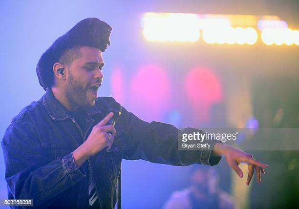 Singer The Weeknd performs at Drai's Beach Club Nightclub at the Cromwell Las Vegas during Drai's LIVE 2016 New Year's weekend celebration on January...