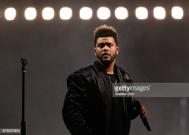 Singer The Weeknd performs on stage during the 'Legend Of The Fall' tour at Rogers Arena on April 25 2017 in Vancouver Canada