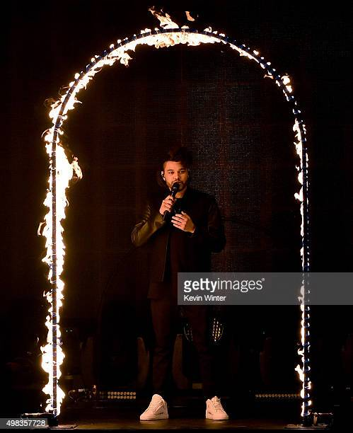 Singer The Weeknd performs onstage during the 2015 American Music Awards at Microsoft Theater on November 22 2015 in Los Angeles California