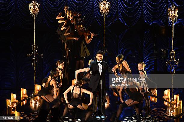 Singer The Weeknd performs onstage during the 88th Annual Academy Awards at the Dolby Theatre on February 28 2016 in Hollywood California