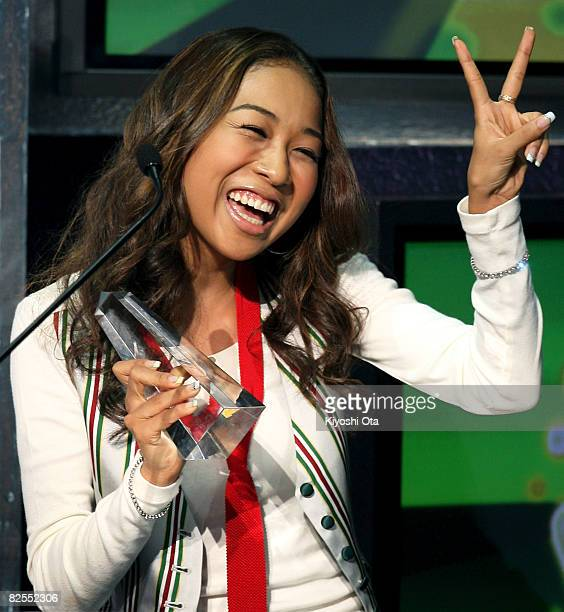 "Singer Thelma Aoyama gestures after receiving the Best ""STUDENT VOICE"" Love Song award during the MTV Student Voice Awards 2008 at Shinkiba Studio..."