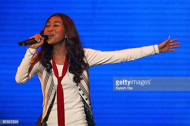 Singer Thelma Aoyama performs during the MTV Student Voice Awards 2008 at Shinkiba Studio Coast on August 26, 2008 in Tokyo, Japan.