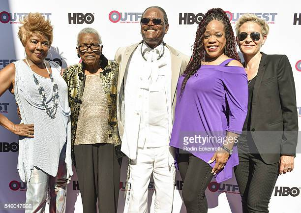 Singer Thelma Houston VHF founder/CEO Jewel ThaisWilliams Al Von singer Evelyn Champagne King and director C Fitz attend 2016 Outfest Los Angeles...