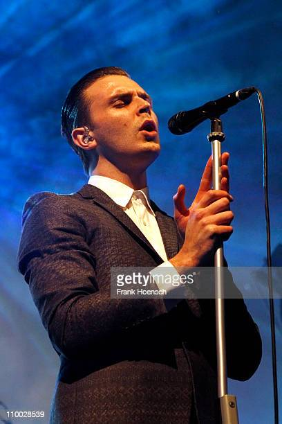 Singer Theo Hutchcraft of Hurts performs live during a concert at the Columbiahalle on March 12 2011 in Berlin Germany
