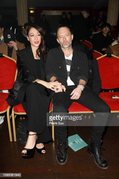 Singer Thom Yorke and his girlfriend Dajana Roncione attend the Undercover Menswear Fall/Winter 20192020 show as part of Paris Fashion Week on...