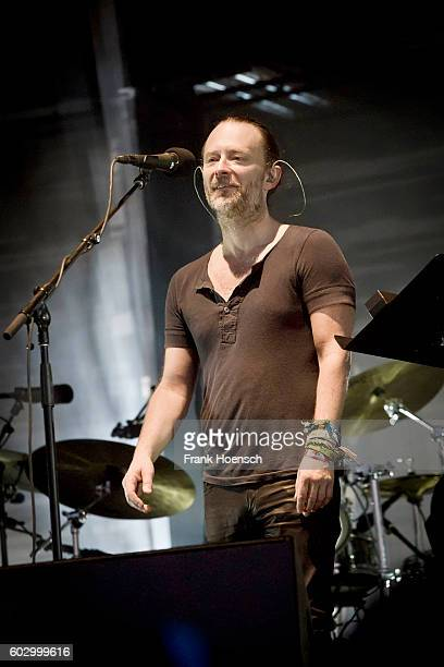 Singer Thom Yorke of the British band Radiohead performs live on stage during the second day of Lollapalooza Festival at the Treptower Park on...