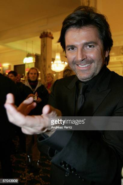 Singer Thomas Anders looks on after the German elimination round for the Eurovision Song contest at the theatre Deutsches Schauspielhaus on March 9,...