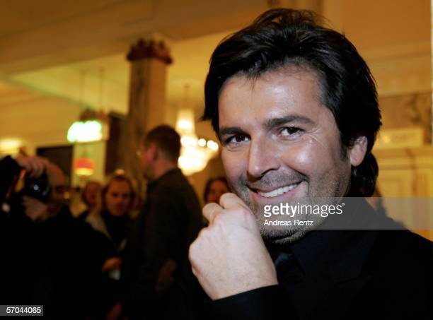 Singer Thomas Anders smiles after the German elimination round for the Eurovision Song contest at the theatre Deutsches Schauspielhaus on March 9,...