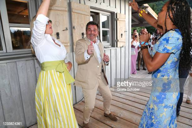 Singer Thomas Andersa and his wife Claudia Anders and Barbara Becker dance during the wedding ceremony of Claudelle Deckert and Peter Olsson on July...