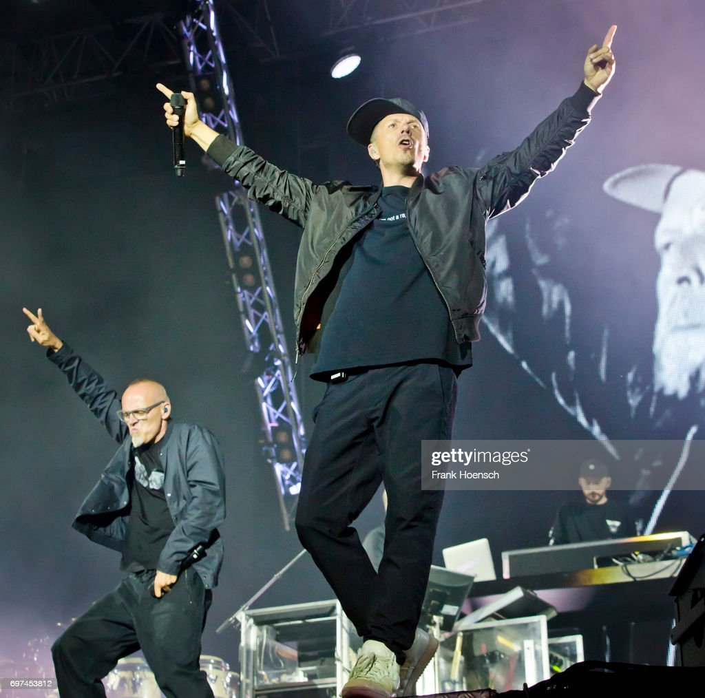 Singer Thomas D and Michi Beck of the German band Die Fantastischen Vier perform live on stage during the Peace X Peace Festival at the Waldbuehne on June 18, 2017 in Berlin, Germany.