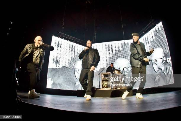 Singer Thomas D, Smudo, And.Ypsilon and Michi Beck of the German band Die Fantastischen Vier perform live on stage during a concert at the...
