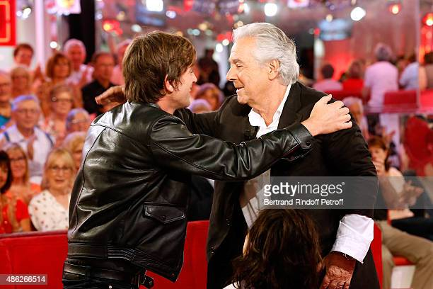 Singer Thomas Dutronc and Main guest of the show Actor Pierre Arditi attend the 'Vivement Dimanche' French TV Show Held at Pavillon Gabriel on...