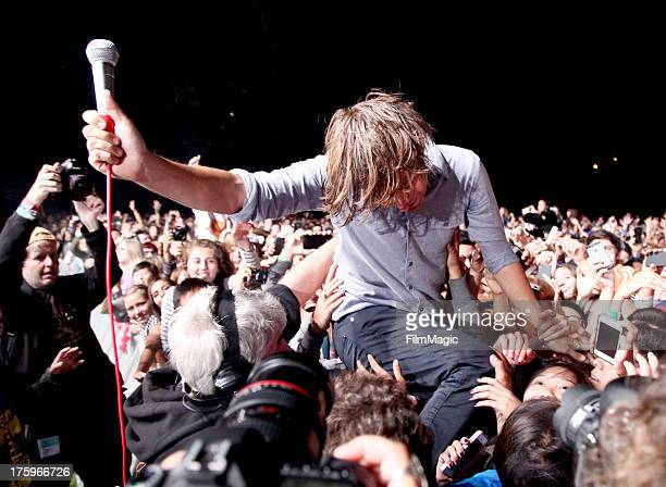 Singer Thomas Mars of Phoenix performs at the Twin Peaks Stage during day 2 of the 2013 Outside Lands Music and Arts Festival at Golden Gate Park on...