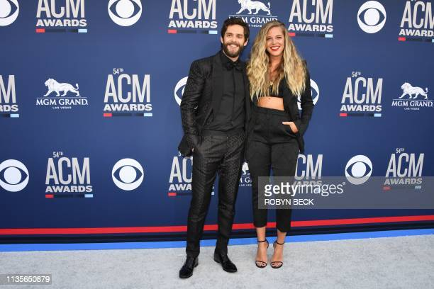 US singer Thomas Rhett and his wife Lauren Akins arrive for the 54th Academy of Country Music Awards on April 7 at the MGM Grand Garden Arena in Las...