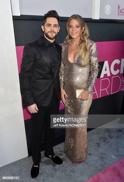 Singer Thomas Rhett and Lauren Gregory Akins attend the 52nd Academy Of Country Music Awards at Toshiba Plaza on April 2 2017 in Las Vegas Nevada