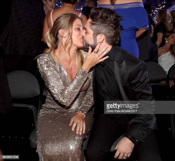 Singer Thomas Rhett and Lauren Gregory Akins attend the 52nd Academy of Country Music Awards at TMobile Arena on April 2 2017 in Las Vegas Nevada
