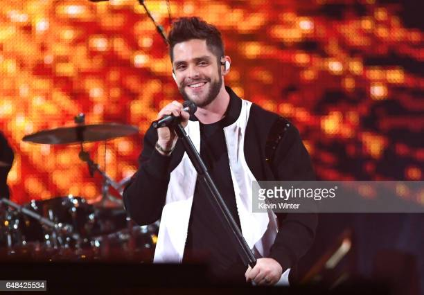 Singer Thomas Rhett performs onstage at the 2017 iHeartRadio Music Awards which broadcast live on Turner's TBS TNT and truTV at The Forum on March 5...