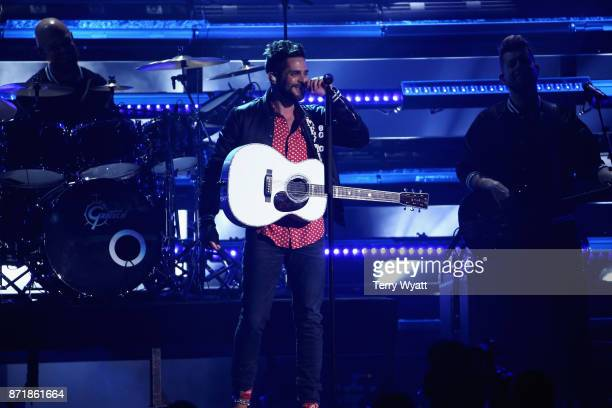 Singer Thomas Rhett performs onstage during the 51st annual CMA Awards at the Bridgestone Arena on November 8 2017 in Nashville Tennessee